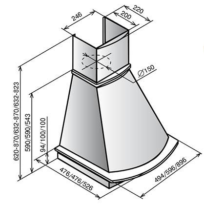 Схема и размеры вытяжки ELIKOR
